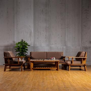 中式小斜腿实木沙发组合