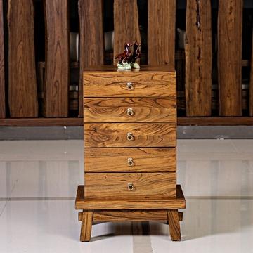 溪木工坊 北方老榆木简约斗柜 现代中式五抽斗柜 实木
