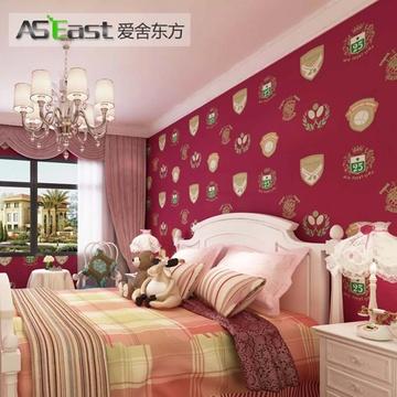 卧室电视背景墙墙纸(b版深红色