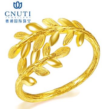 黄金戒指 金戒指 活口黄金女戒 金指环首饰 树叶戒指 约4克