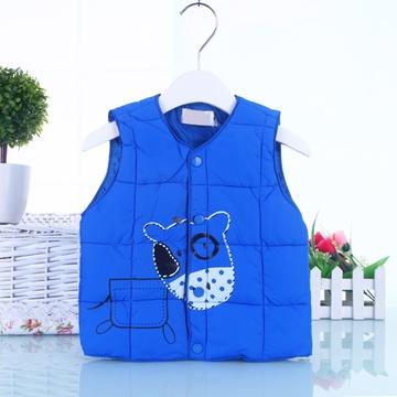 新款宝宝马甲男女童婴儿马夹 宝宝幼儿童装加厚背心婴儿童装7687(蓝色