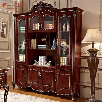 美式家具复古实木四门书柜