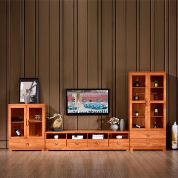 电视柜 现代中式电视柜酒柜客厅实木电视机柜柜