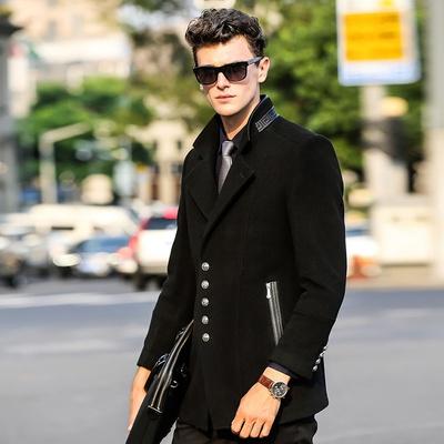 男士黑色毛呢大衣怎么搭配,要圖圖片