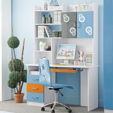 儿童书桌书柜效果图 书架和书桌一体效果图 小房间