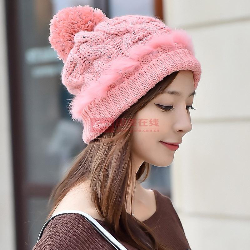 【帽子粉红色图片】韩版毛线帽子女时尚杂色 加绒加厚