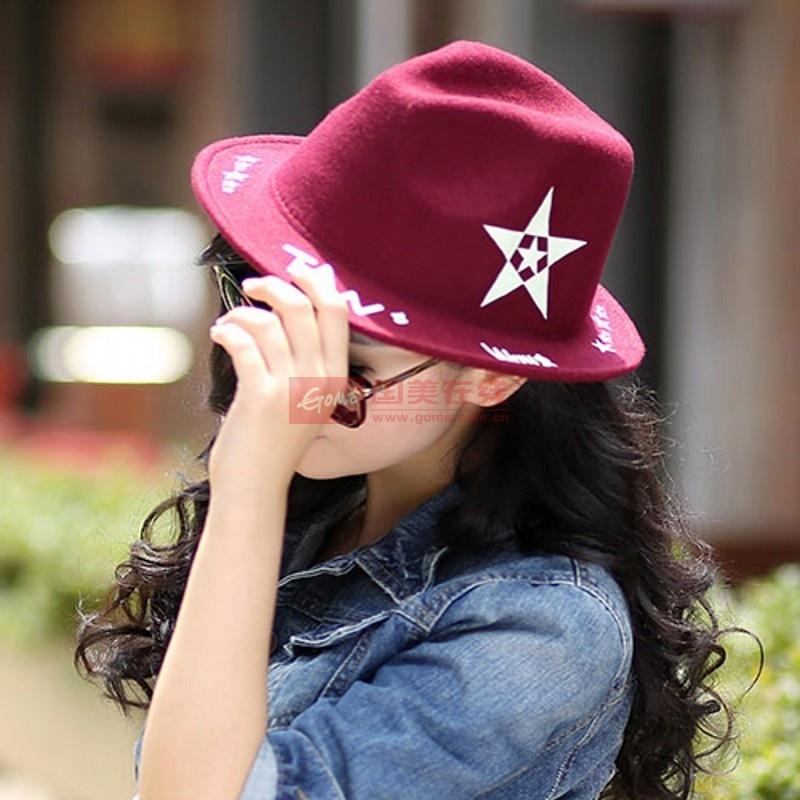 【帽子酒红色图片】韩版爵士帽子女礼帽品牌秋冬新款