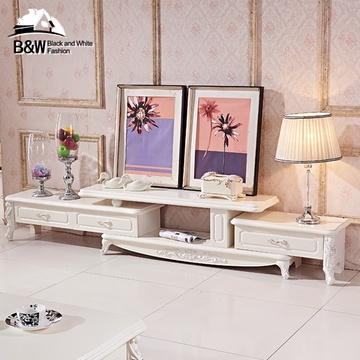 黑白欧风尚简约北欧法式欧式电视柜组合可伸缩客厅地