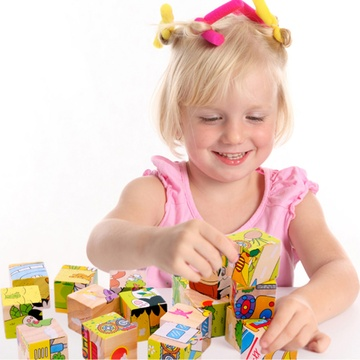 熊孩子木质六面画9粒拼图儿童3d立体积木制宝宝幼儿*玩具