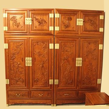 集一美红木家具红木顶箱柜实木大衣橱四门衣柜山水非洲花梨木