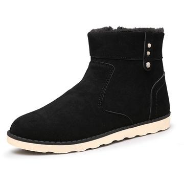 冬季保暖男鞋棉鞋潮流加绒男士雪地靴加厚男棉靴冬天潮男鞋子(黑色 39