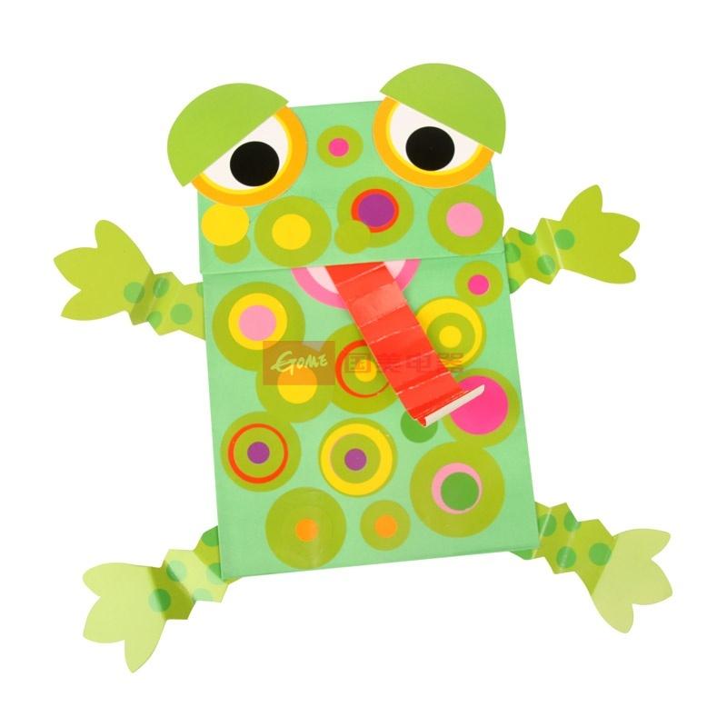 【大贸商diy创意青蛙图片】纸偶材料包 动物纸袋手偶.