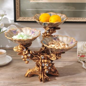 梦娜琳莎系列 复古奢华欧式果盘 创意家居饰品摆件分格托盘干果盘