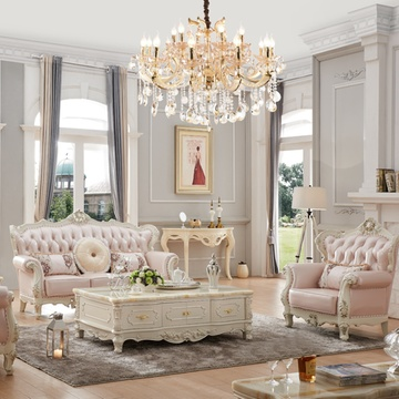 永旭家具 欧式沙发头层牛皮小户型实木法式客厅组合皮