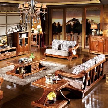 全实木沙发 金丝檀木家具中式客厅组合沙发