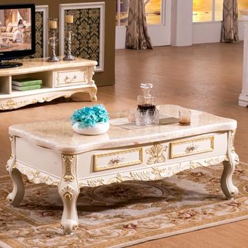 欧式茶几实木古典客厅小茶几电视柜 大理石茶几组合210(米黄玉石面