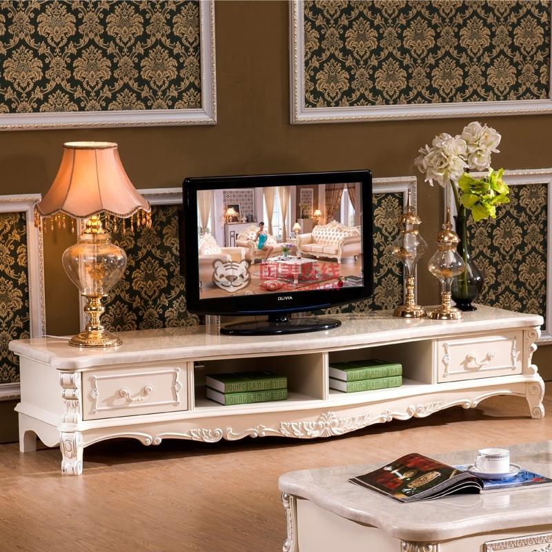永旭家具 欧式电视柜实木白色茶几客厅电视柜组合电视