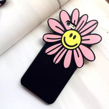 亿和源iphone6小清新韩国太阳花苹果6s笑脸菊花6plus手机壳保护套(粉