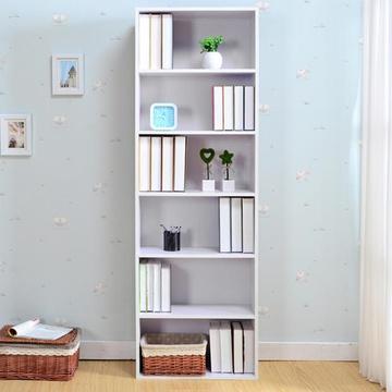 苏鼎简约六层储物柜简易收纳柜儿童书柜大容量书柜 展示柜(白色)