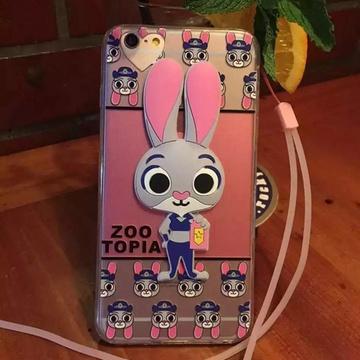 疯狂动物城手机壳苹果6s带挂脖绳女款兔子朱迪iphone