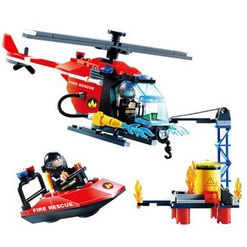 消防直升机车火警玩具海上救援队3-14岁拼插学乐高式兼容男孩女孩宝宝