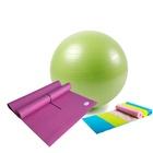 爱玛莎 瑜伽用品超值三件套 PVC瑜伽垫 瑜伽球 瑜伽拉力带(紫色 PVC)