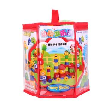 母婴用品 玩具 益智玩具 飞牛网益智玩具 新奇特动物游乐园益智积木 1