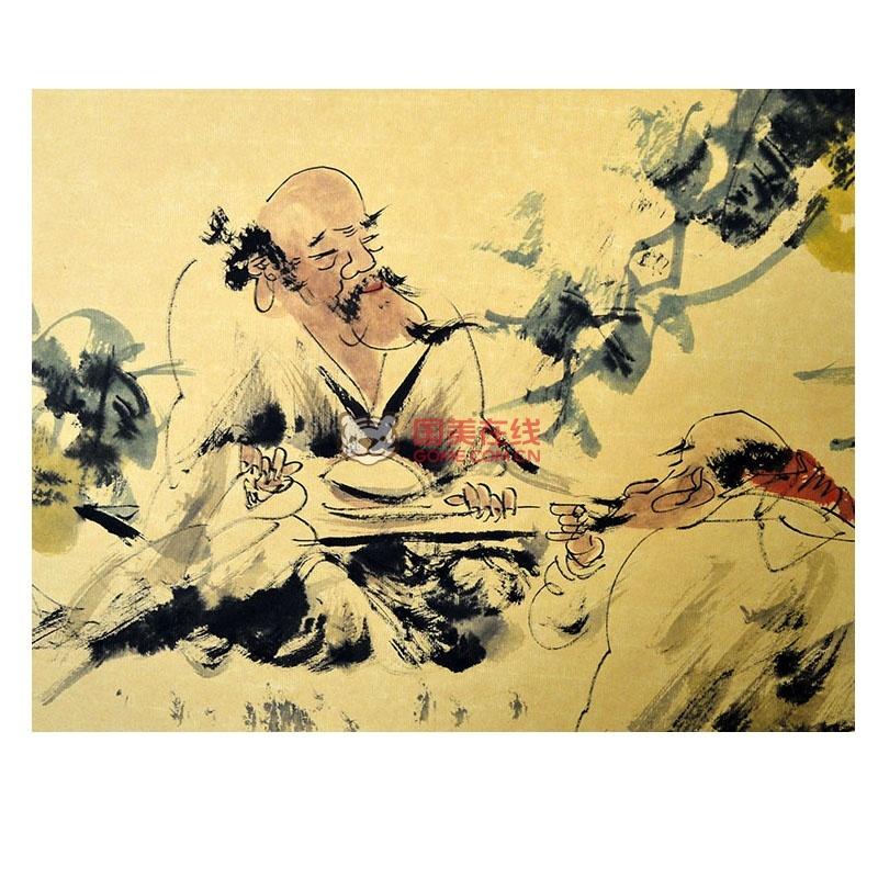 安徽美协 沈秀华 手绘人物《听琴品诗图》