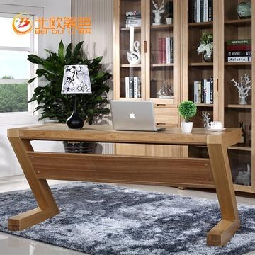 北欧篱笆 实木书桌台电桌简约z型创意办公桌写字台书房家具进口水曲柳