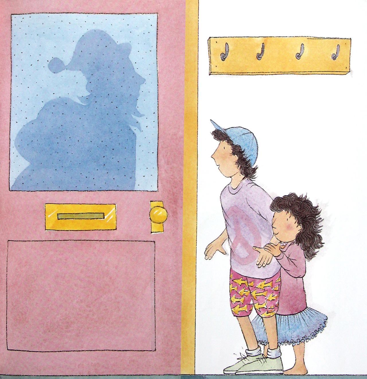 儿童敲门卡通图