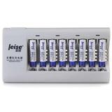 雷摄(LEISE)718 多槽充电套装 ( 7号950毫安电池X8节+八槽充电器X1+电源线X1)可对5号或7号8节电池充电【国美自营 品质保证】